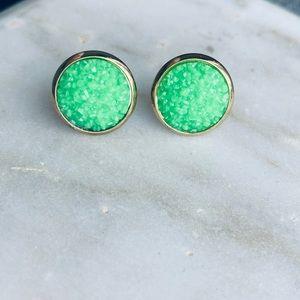 Matte Druzy Earrings Gold Lime Stone Stud Post NEW